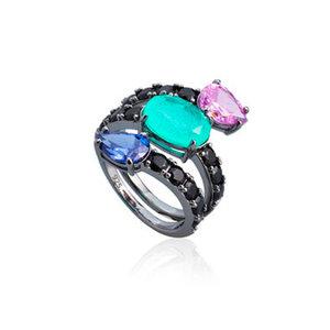 Anel 3 Pedras Colors Prata 925