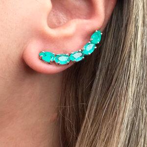 Ear Cuff Turmalina Prata 925