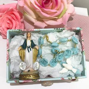 Caixa Montada Poá Rosa com N.Sra. das Graças e Dezena - 10,0 x 15,0