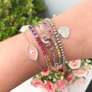 Pulseira Balls and Heart Prata 925