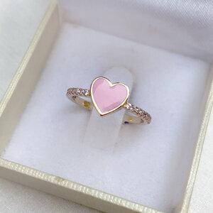 Anel Coraçãozinho Esmaltado Prata 925