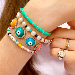 Pulseira Colorful Olho Grego Prata 925