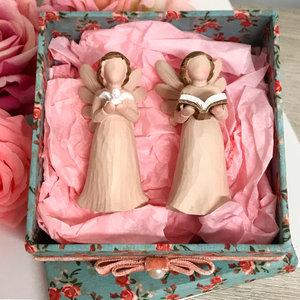 Caixa Montada Floral Azul com Dois Anjos - 15,0 x 15,0