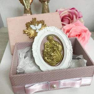 Caixa Montada Rose com Quadro Sagrada Família - 10,0 x 15,0