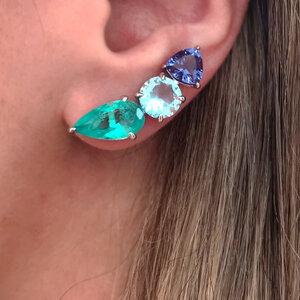 Ear Cuff 3 Pedras Coloridas Prata 925