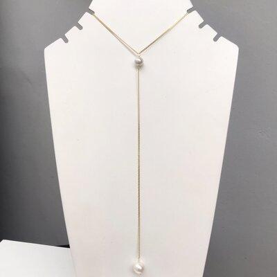 Colar Gravatinha Two Pearls Prata 925