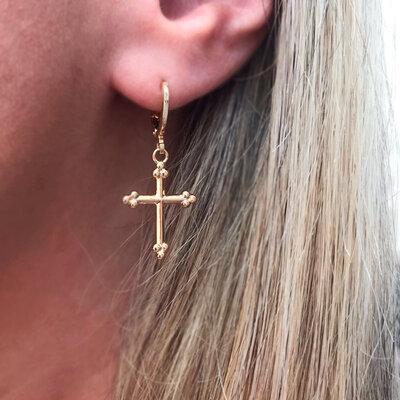 Argola Crucifixo Esferinhas