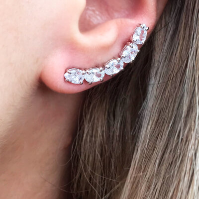 Ear Cuff Zircônia Prata 925