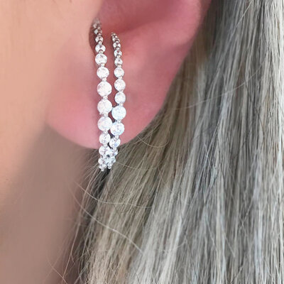 Ear Hook Crystal Moon Prata 925