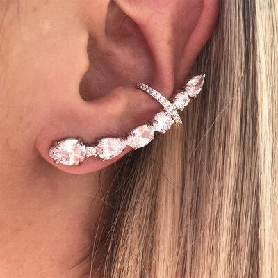 Ear Cuff com Piercing Ródio