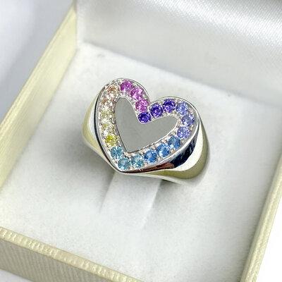 Anel Coração Rainbow Prata 925