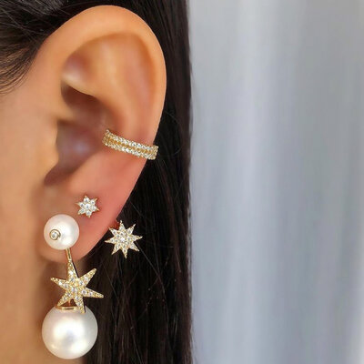 Ear Jacket Duas Estrelas