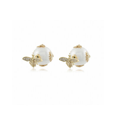 Ear Jacket Pearl and Bees