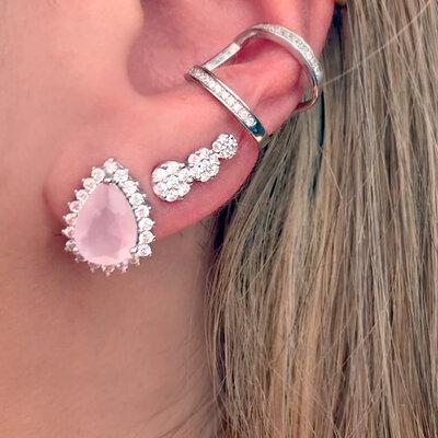 Ear Cuff Mini Três Flores Prata 925