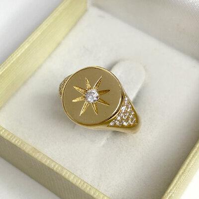 Anel Dedinho Estrela Prata 925 Ouro
