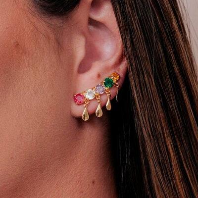 Ear Cuff Colorido e Gotas