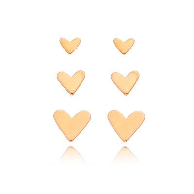Trio Corações Ouro (kit)