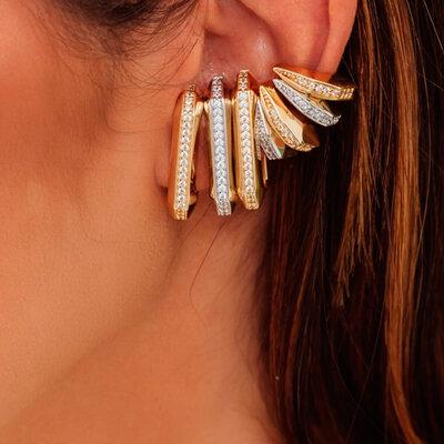 Piercing Ear Hook Falso Geométrico (unidade)