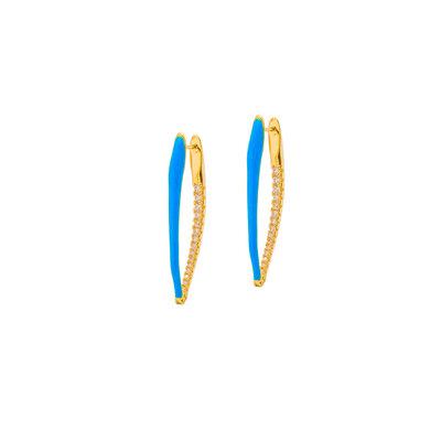 Argola Azul Estilete Zircônias