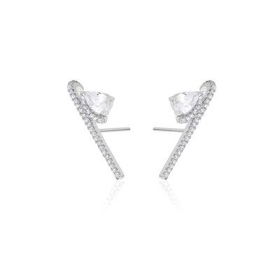 Ear Hook Palito com Gota Prata 925