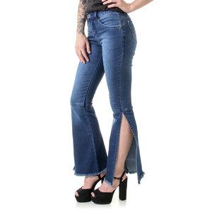Calça Jeans Flare Abertura Lateral