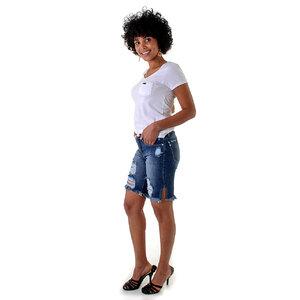 Bermuda Jeans Rasgos Puídos OPRK