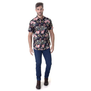 CAMISA MASCULINA OPERA ROCK MANGA CURTA MIX FLOWERS