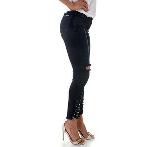 Calça Jeans Feminina Leg Maxi Punk Black Blue