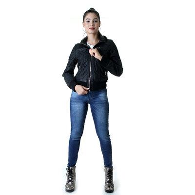 JAQUETA FEMININA PU COM CAPUZ REMOVIVEL OPRK