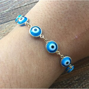 Pulseira Olho Grego Azul Turquesa Dourada