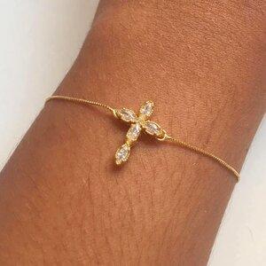 Pulseira Cruz Dourada