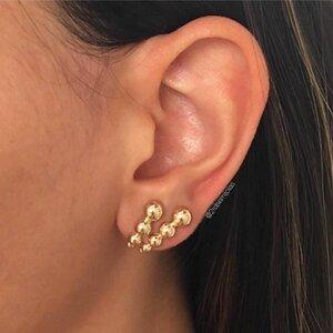 Brinco Earhook Bolinhas Duplo Dourado