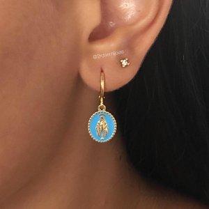 Argolinha Medalha N. Sra Esmaltada Azul