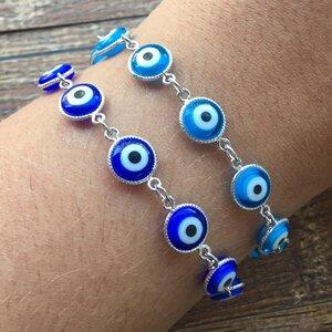 Pulseira Olho Grego Azul Marinho Prateada