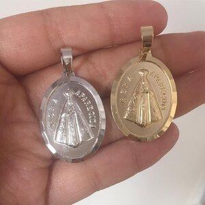 Pingente Medalha N. Sra. Aparecida Prateada G