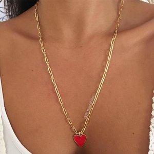 Colar Coração Esmaltado Vermelho G