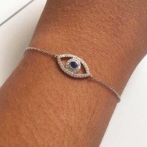 Pulseira Olho Grego Cravejada - Prata 925