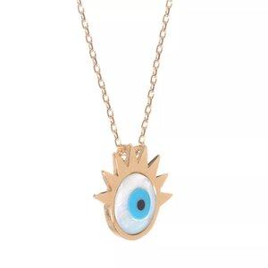 Colar Olho Grego Cílios Dourado