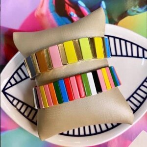 Pulseira Bangle Colorida Dourada