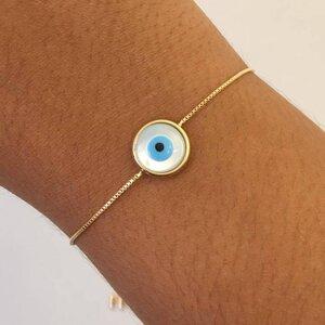 Pulseira Olho Grego Gravatinha Dourada