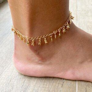 Tornozeleira Estrelas Dourada