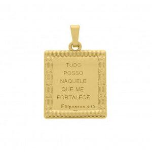 Pingente Medalha Quadrada Proteção
