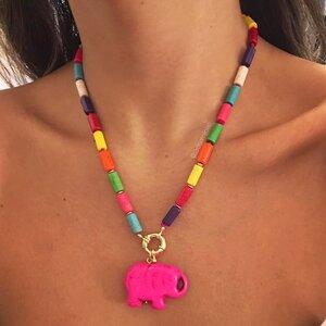 Colar Colorido Pingente Elefante