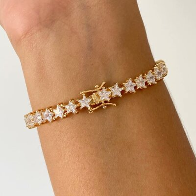 Pulseira Riviera Estrelas Ouro - Prata 925