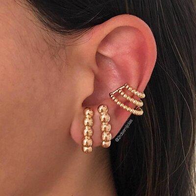 Piercing Bolinhas Espiral Dourado