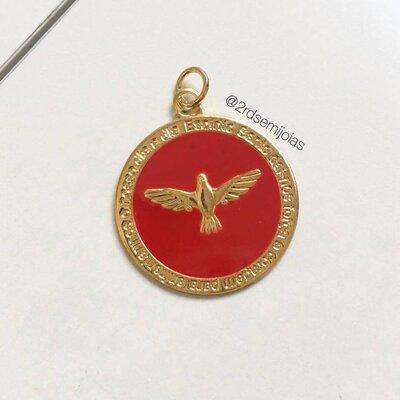Pingente Medalha Divino Esmaltada