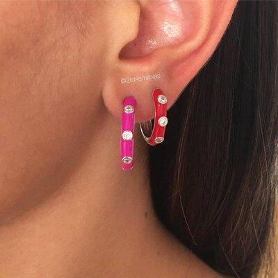 Argola Esmaltada Pink M