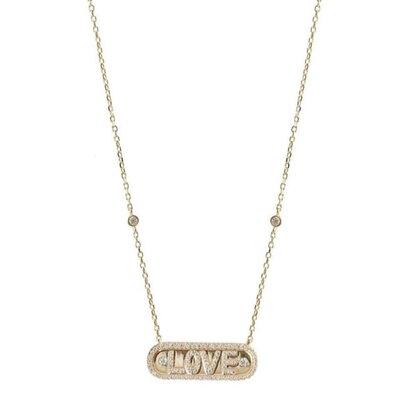 Colar Placa Love Ouro - Prata 925