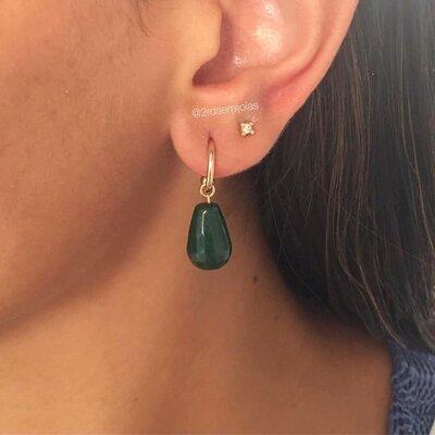 Argolinha Gota Jade Verde