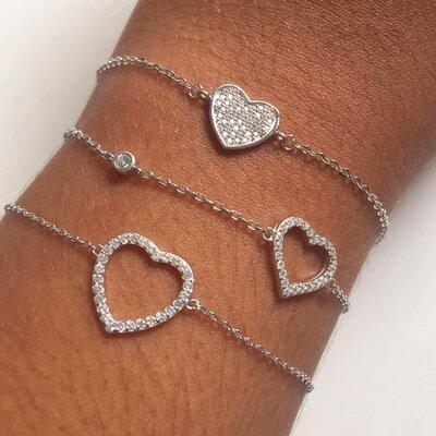 Pulseira Coração Cravejado - Prata 925
